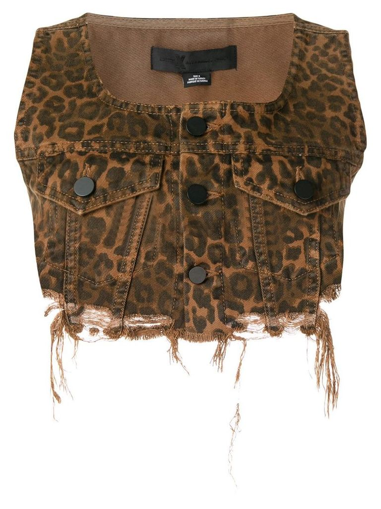 Alexander Wang cropped leopard print denim gilet - Brown