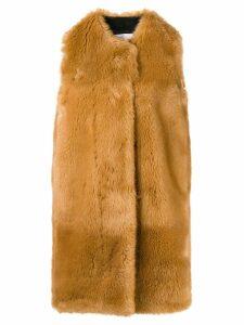 MSGM faux fur long gilet - Brown