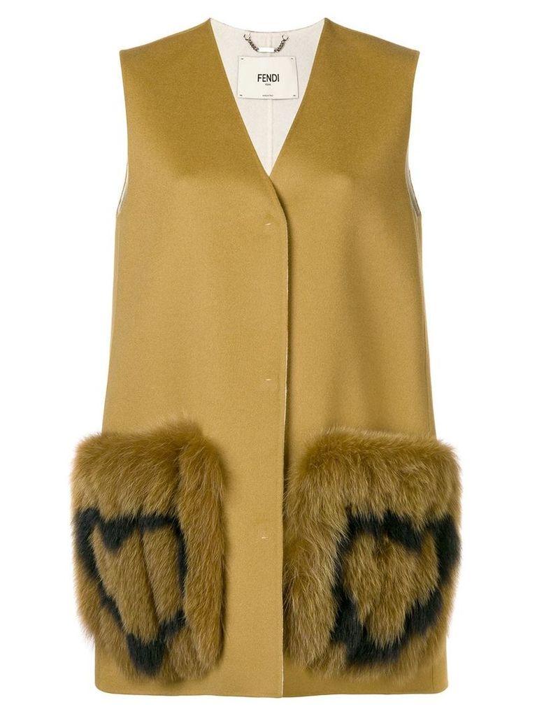 Fendi heart-patch sleeveless coat - Brown