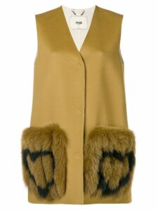 Fendi heart-patch sleeveless coat - Brown