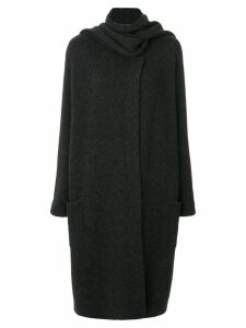 Le Kasha Antigua oversized scarf coat - Black