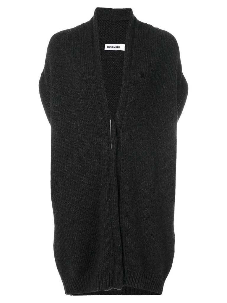Jil Sander knit oversized sleeveless cardi coat - Grey