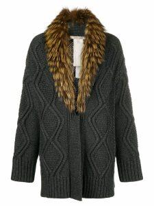 Roberto Cavalli fur-collar cable knit cardigan - Grey