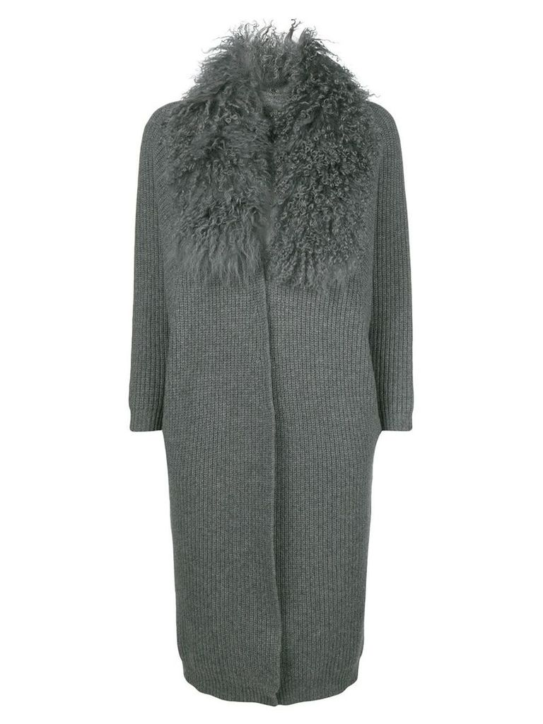 Philo-Sofie fluffy collar cardi-coat - Grey