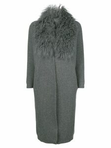 Philo-Sofie fluffy collar cardi-coat - Grey