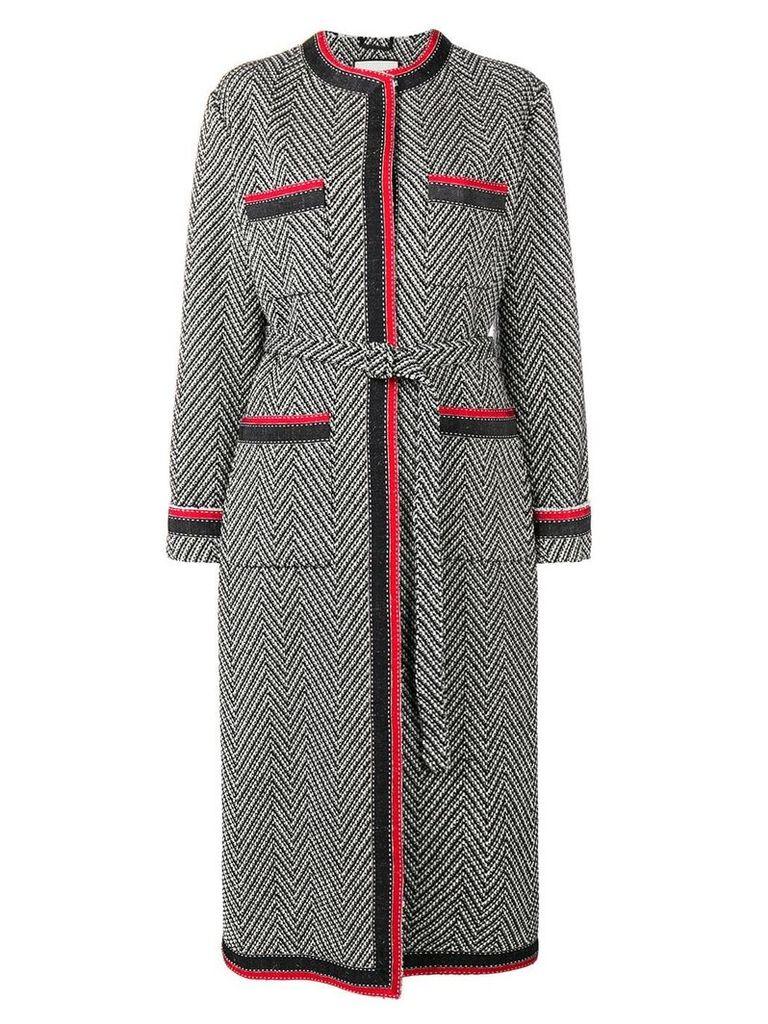 Gucci chevron tweed coat - Black