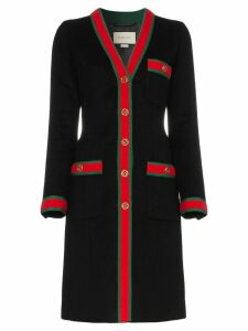Gucci web stripe wool coat - Black