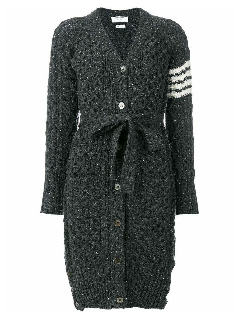 Thom Browne Long Tweed V-neck Cardigan Coat - Grey