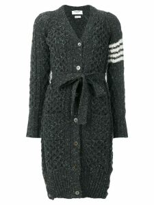 Thom Browne Long Tweed V-neck Cardigan Coat - Grey