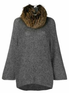 Fabiana Filippi fur collar knitted coat - Grey
