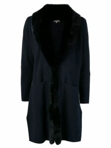 N.Peal fur collar Milano coat - Blue