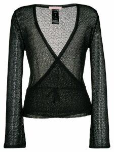 Kristina Ti open knit wrap cardigan - Black
