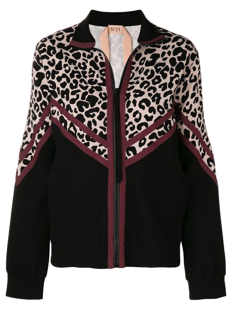 No21 leopard print jacket - Black