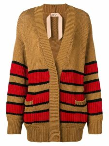 Nº21 oversized striped cardigan - Brown