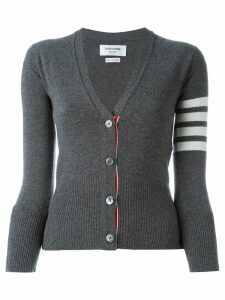 Thom Browne Classic V-Neck Cardigan In Cashmere With White 4-Bar