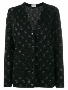 Saint Laurent dollar print oversize cardigan - Black