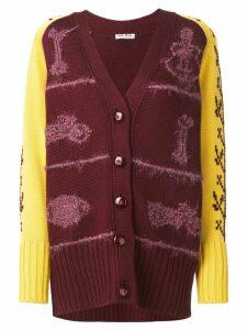 Miu Miu patterned sleeves chunky cardigan - Red