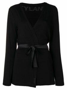 Styland tie-waist knit cardigan - Black