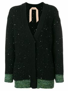 Nº21 wool-blend cardigan with sequins - Black