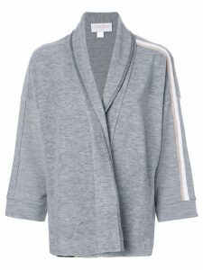 Agnona side stripe cardigan - Grey