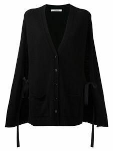 Dorothee Schumacher cashmere lace up slit sleeves cardigan - Black