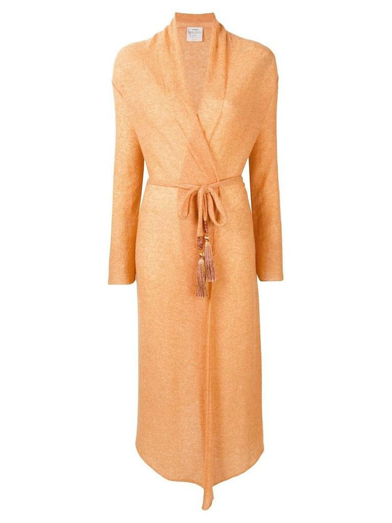 Forte Forte long belted cardigan - Yellow