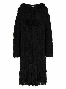Saint Laurent cable knit cardigan coat - Black