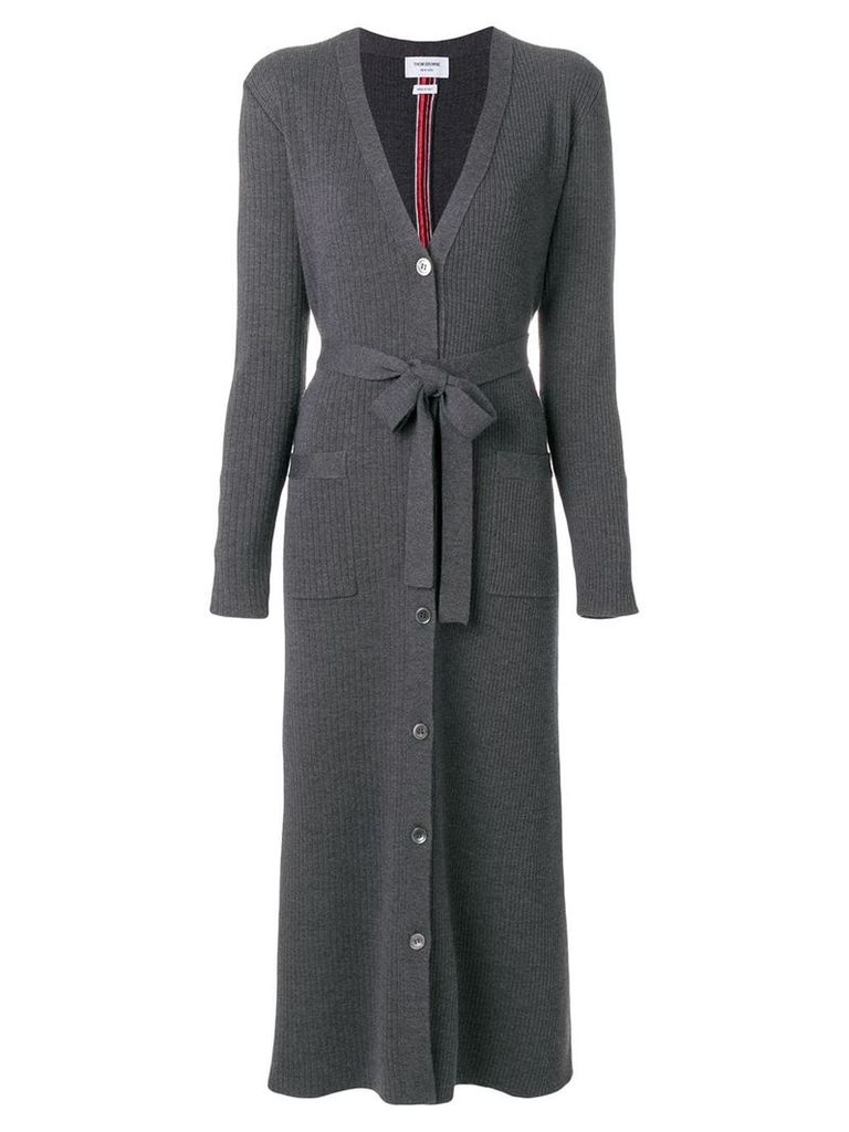 Thom Browne Half-and-half Rib Knit Striped Long Cardigan - Grey