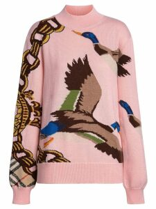 Burberry Duck Intarsia Cotton Cashmere Wool Sweater - Pink