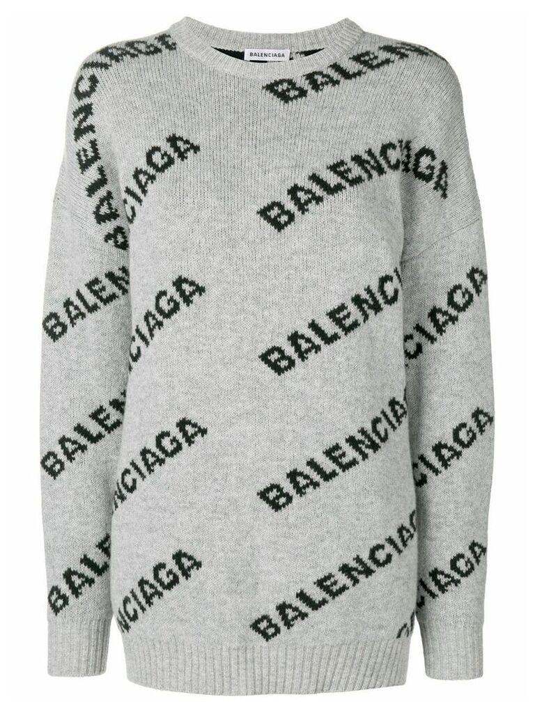 Balenciaga Jacquard Logo Crewneck sweater - Grey