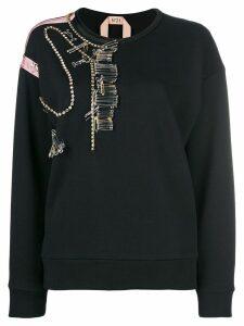 Nº21 pin-embellished cotton jersey sweatshirt - Black