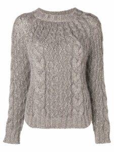 Saint Laurent aran cable knit jumper - Neutrals