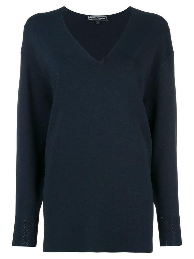 Salvatore Ferragamo slouchy v-neck sweater - Blue