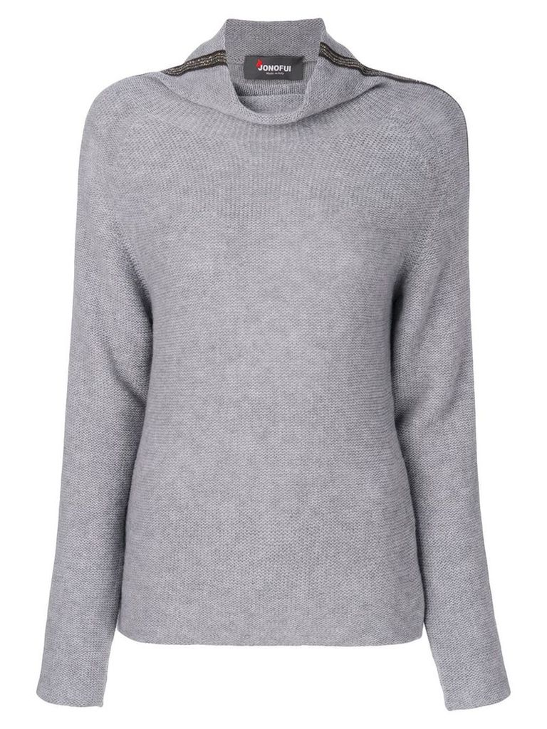 Jo No Fui roll neck stripe sweater - Grey