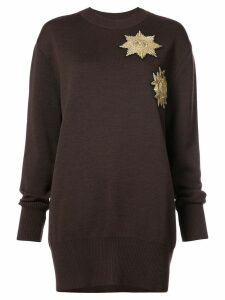 Vera Wang metallic patches loose-fit jumper - Brown