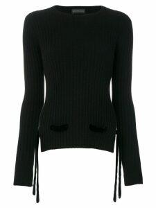 Cashmere In Love cashmere velvet belt sweater - Black