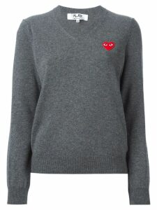 Comme Des Garçons Play embroidered heart sweater - Grey