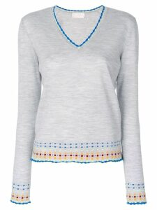 Peter Pilotto v-neck embroidered sweater - Grey