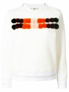 Fendi mink fur panel sweater - White
