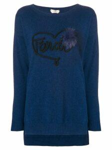 Fendi logo applique jumper - Blue