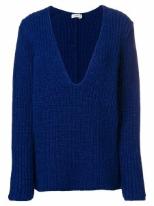 Closed ribbed knit oversized sweater - Blue