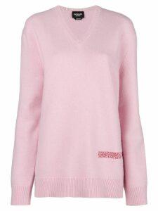 Calvin Klein 205W39nyc logo v-neck sweater - Pink