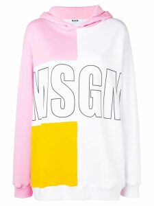MSGM logo colour-block hoodie - White
