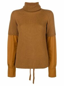 Nº21 poplin sleeve jumper - Brown