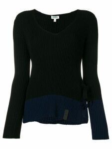 Kenzo ribbed tie side slit sweater - Black