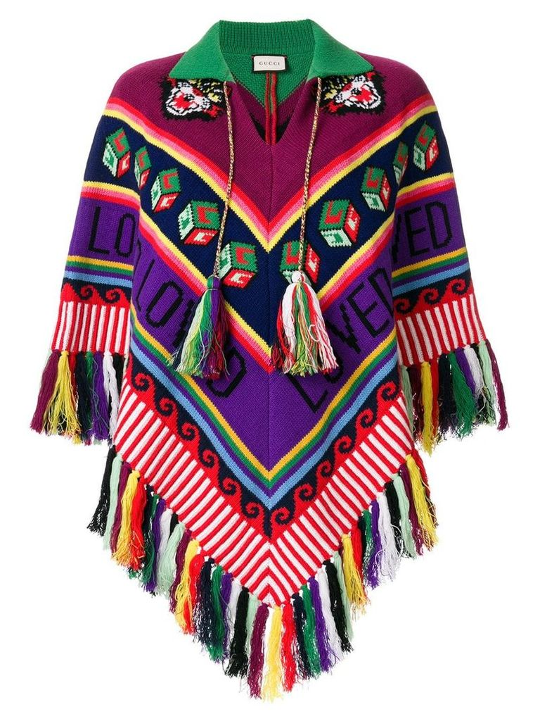 Gucci tasseled chunky knit poncho - Multicolour