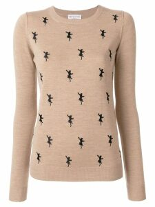 Sonia Rykiel embroidered panther jumper - Neutrals