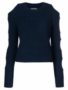 Zoe Jordan cutout ribbed knit jumper - Blue