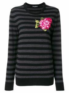 Dolce & Gabbana embroidered applique flower jumper - Grey