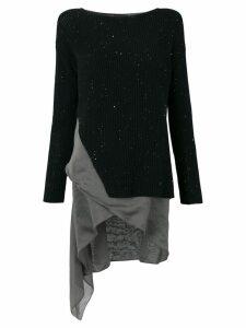 Fabiana Filippi ribbed sweater with asymmetric hem - Black
